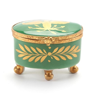 Hand-Painted Gilt and Green Eagle Motif Porcelain Limoges Box