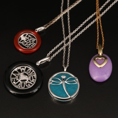 "Necklaces Including Sterling, Heart, Dragonfly and ""Live Love Laugh"""