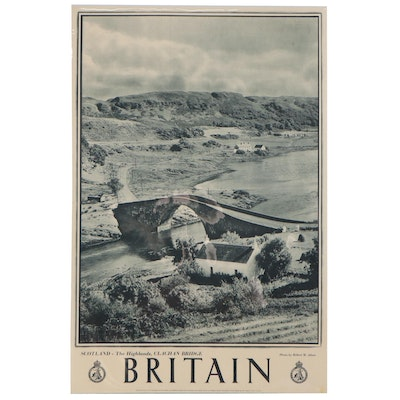 "Great Britain Rotogravure Travel Poster ""Scotland-The Highlands, Clachan Bridge"""