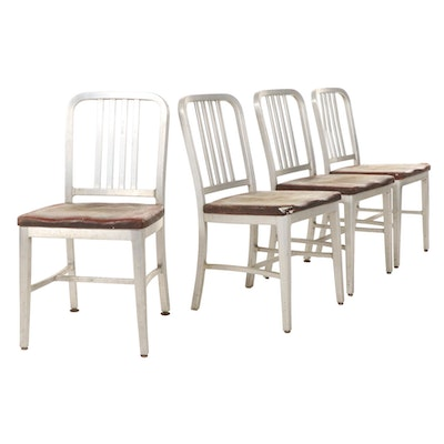 """Four  General Fireproofing Co. """"Goodform"""" Aluminum and Leather Chairs, 1960s"""