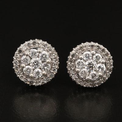 10K 1.90 CTW Diamond Cluster Earrings