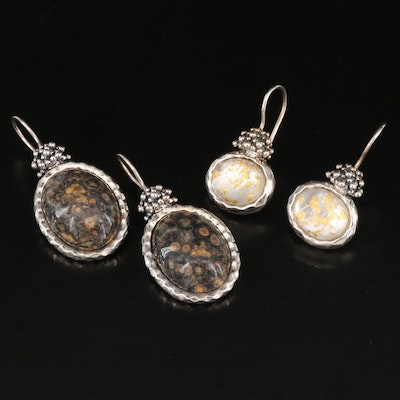 Michael Dawkins Sterling Earrings Featuring Jasper and Mother of Pearl