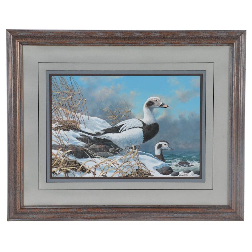 Harold Roe Gouache Painting of Ducks at Shore, 1990