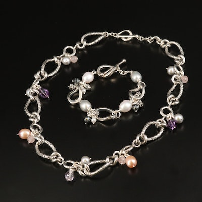 Michael Dawkins Sterling Amethyst and Pearl Beaded Necklace and Bracelet