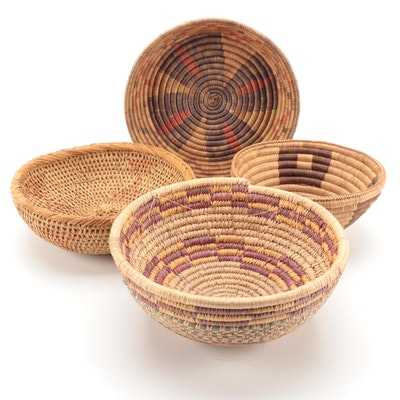 South African Zulu and Other African Hand-Woven Basketry Bowls