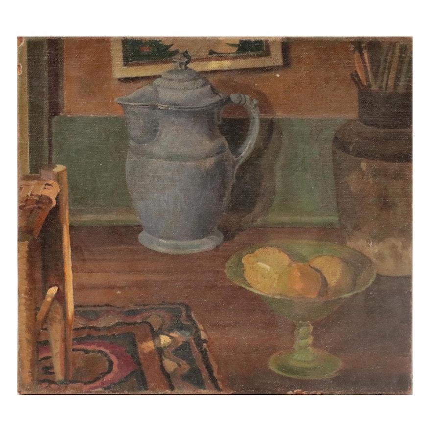 "Reveau Bassett Oil Painting ""Still Life,"" Early 20th Century"