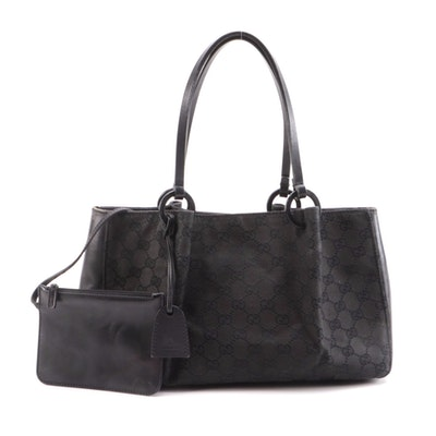 Gucci Black GG Canvas and Leather Mini Tote with Accessories Pouch