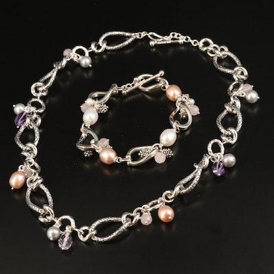 Michael Dawkins Sterling Amethyst and Rose Quartz Necklace and Bracelet