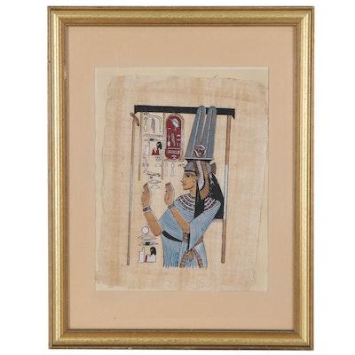 Egyptian Style Screen Print on Papyrus, Circa 2000