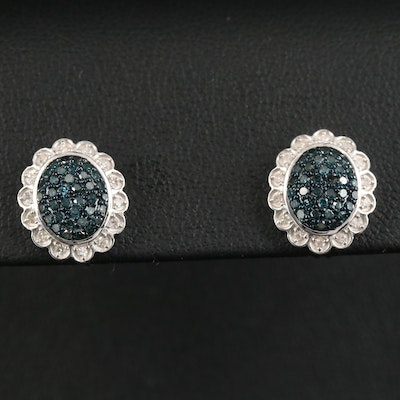 Sterling Diamond Stud Earrings