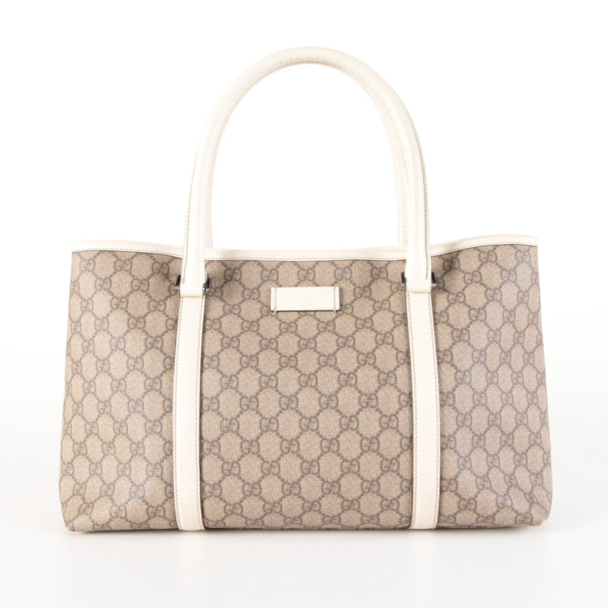 Gucci Shoulder Tote in GG Supreme Canvas with Ivory Leather Trim