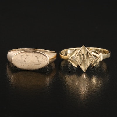 14K Diamond Cut Ring and 10K Signet Ring