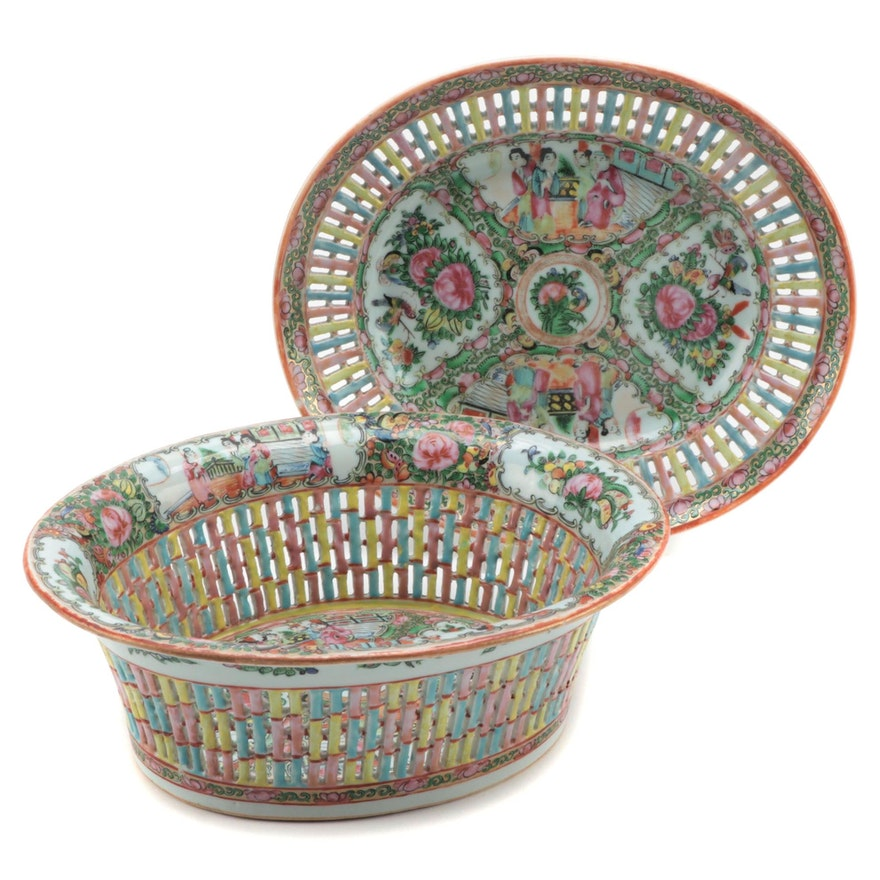 Chinese Rose Medallion Reticulated Porcelain Chestnut Basket and Underplate