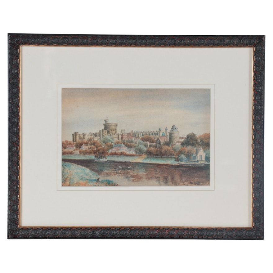 Windsor Castle Watercolor Painting, Late 19th to Early 20th Century