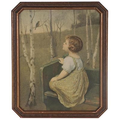 """Offset Lithograph after John Drescher Co. """"Songbird,"""" Mid-20th Century"""