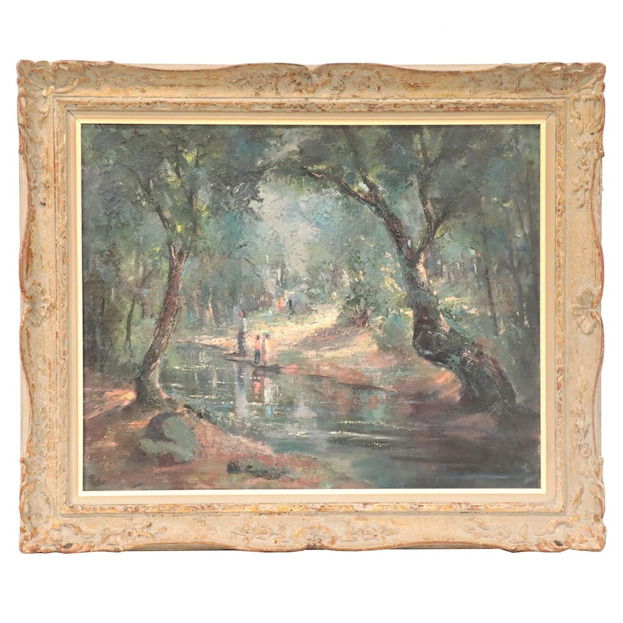 Mary Collier Schultz Oil Painting of River Scene, Late 20th Century