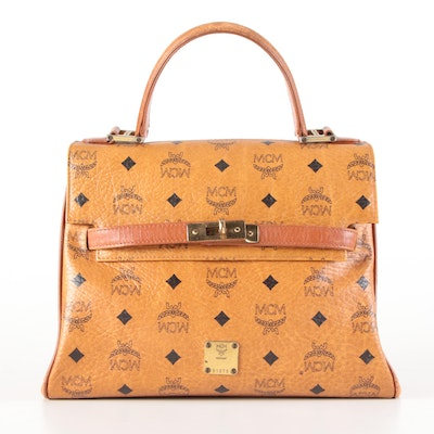 MCM Heritage Satchel in Monogram Cognac Visetos Canvas