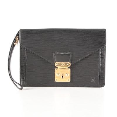 Louis Vuitton Sellier Dragonne Wristlet Clutch in Black Epi Leather