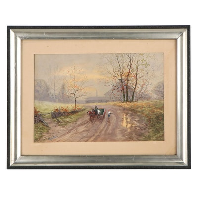 P. Rosenthal Watercolor Painting of Village Road, Early 20th Century