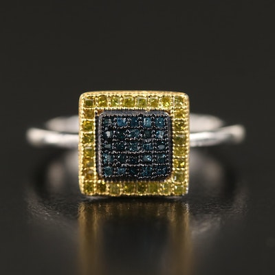 Sterling Diamond Cluster Ring