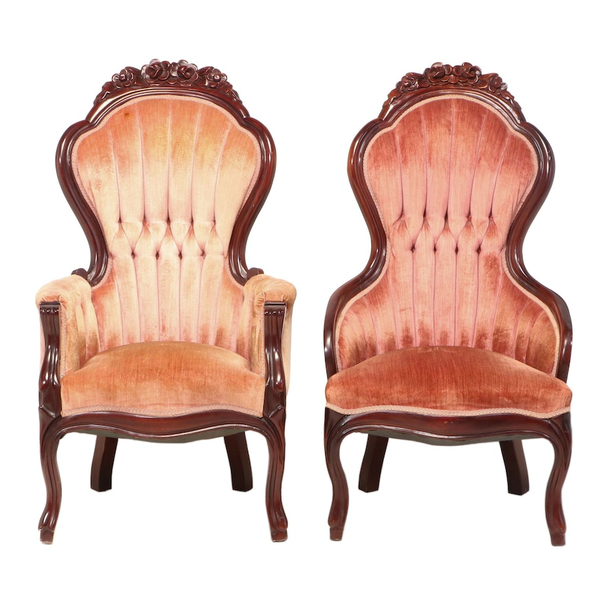 Two Capitol Victorian Furniture Co. Rococo Revival Style Mahogany Parlor Chairs