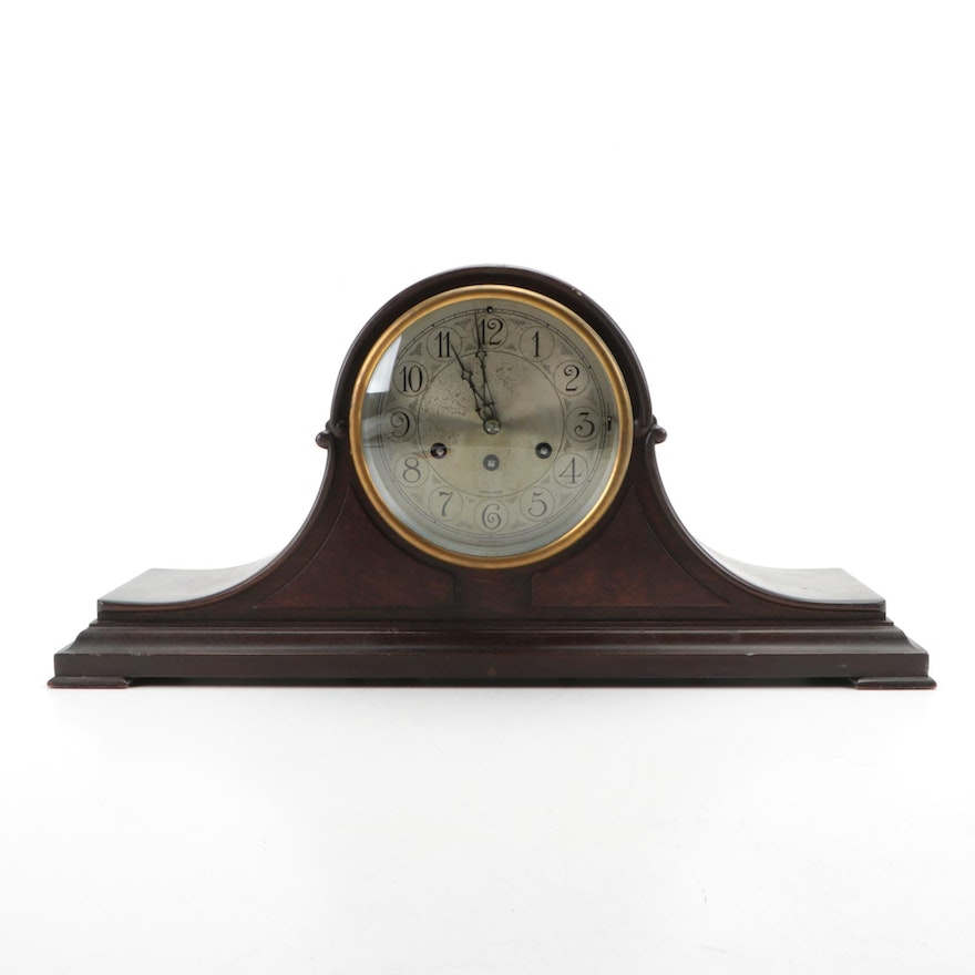 Herschede Hall Clock Co. 5 Chime Tambour Mantel Clock, Early 20th Century