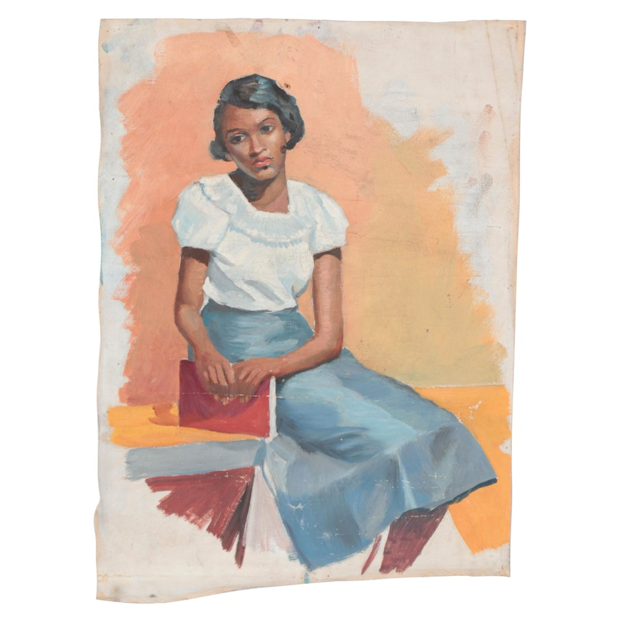 Figurative Style Oil Painting of Young Woman in Blue Skirt, 20th Century