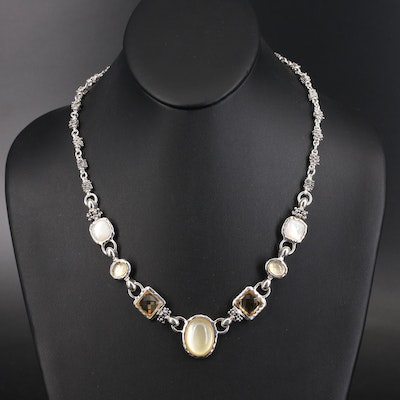 Michael Dawkins Sterling Citrine, Mother of Pearl and Quartz Doublet Necklace
