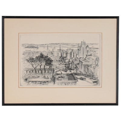 Alec Stern Etching of San Francisco Cityscape, 1945