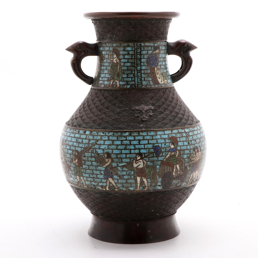 Japanese Style Bronzed Metal and Champlevé Urn