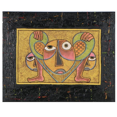 """Kayode Buraimoh Abstract Mixed Media Painting """"Uplifting,"""" 2016"""