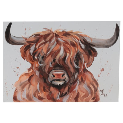 Anne Gorywine Watercolor Painting of Highland Cow, 2021