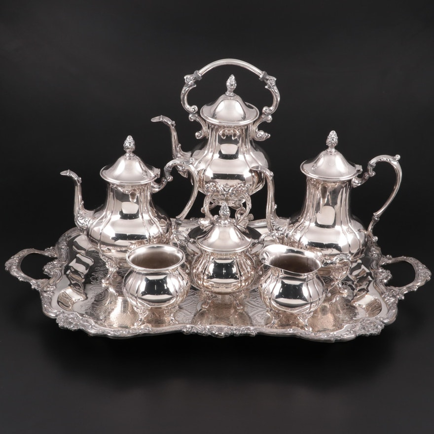 """Sheridan """"Fluted"""" Silver Plate Tea Set, Mid to Late 20th Century"""