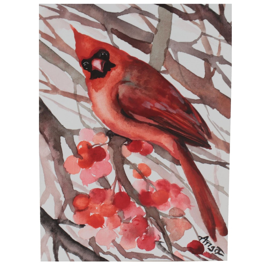 Anne Gorywine Watercolor Painting of Cardinal, 2021