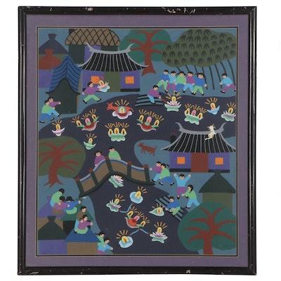 Chinese Jinshan Style Folk Art Gouache Painting