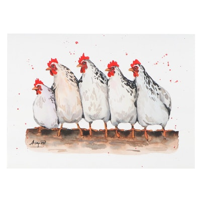 Anne Gorywine Watercolor Painting of Chickens