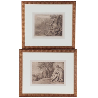 Richard Earlom Mezzotints after Claude Lorrain Drawings of Figures, circa 1819