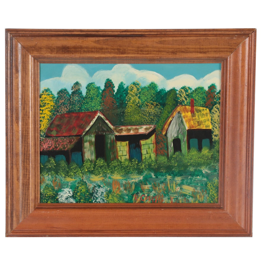 Acrylic Painting of Houses in the Woods, Late 20th Century