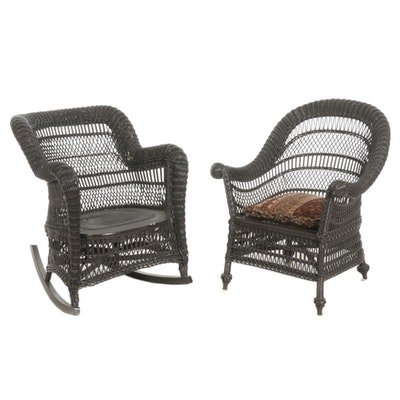 Painted Rattan Wicker Patio Chairs, Mid to Late 20th Century