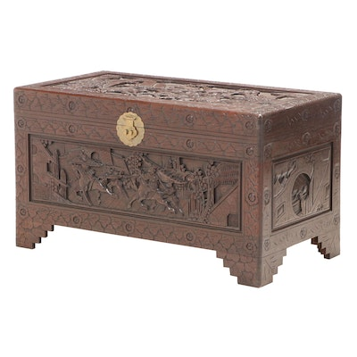 Chinese Relief-Carved Camphorwood Chest