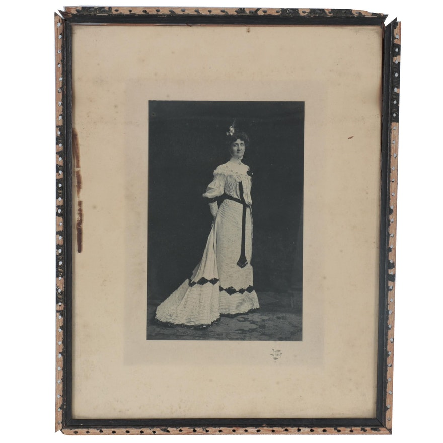 Silver Print of Woman in Victorian Dress, Early to Mid-20th Century