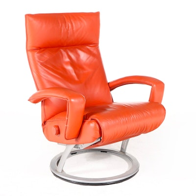 Lafer Modern Orange Leather Reclining Chair