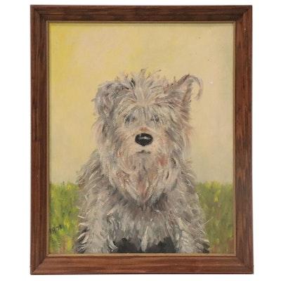 """Glen of Imaal Terrier Portrait Oil Painting """"Pete,"""" 1978"""