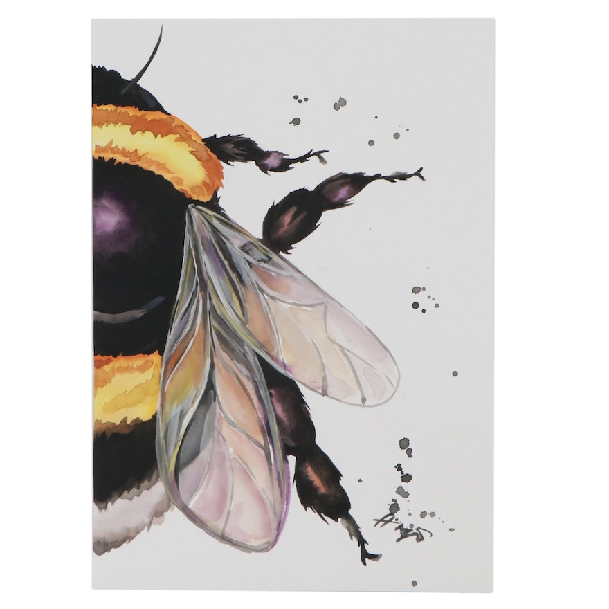 Anne Gorywine Watercolor Painting of Bee, 2021