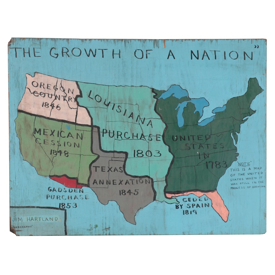 """Jim Hartland Acrylic Painting """"The Growth of a Nation,"""" Late 20th Century"""