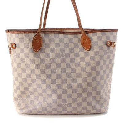 Louis Vuitton Neverfull MM Tote in Damier Azur Canvas
