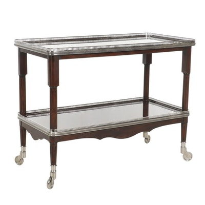 """Ralph Lauren """"One Fifth"""" Mahogany and Steel Chrome Large Bar Cart"""