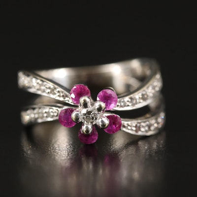 18K Diamond and Ruby Floral Ring with Split Shank