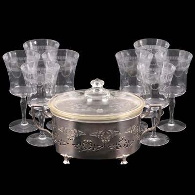 Pyrex Etched Glass Casserole Dish with Silver Plate Holder and Glass Goblets