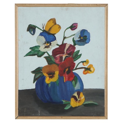 Still Life Oil Painting of Pansies, Mid-Late 20th Century